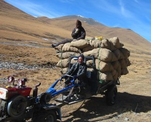 transporting goods by vehicle in the mountains
