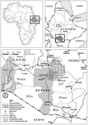 Map of Borana, Ethiopia